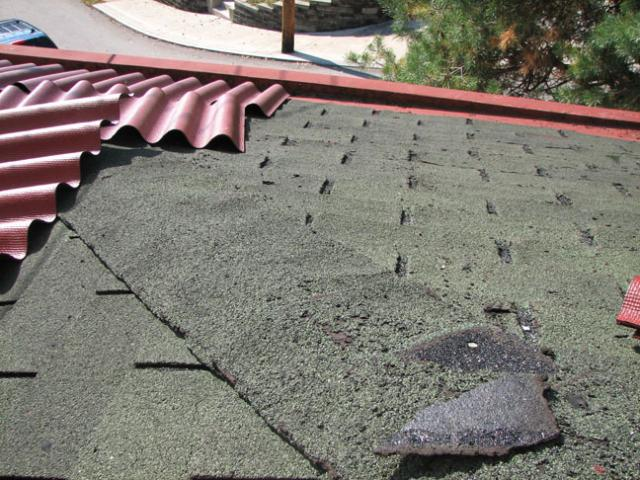"Here's the ""before"" showing the nasty old shingles."